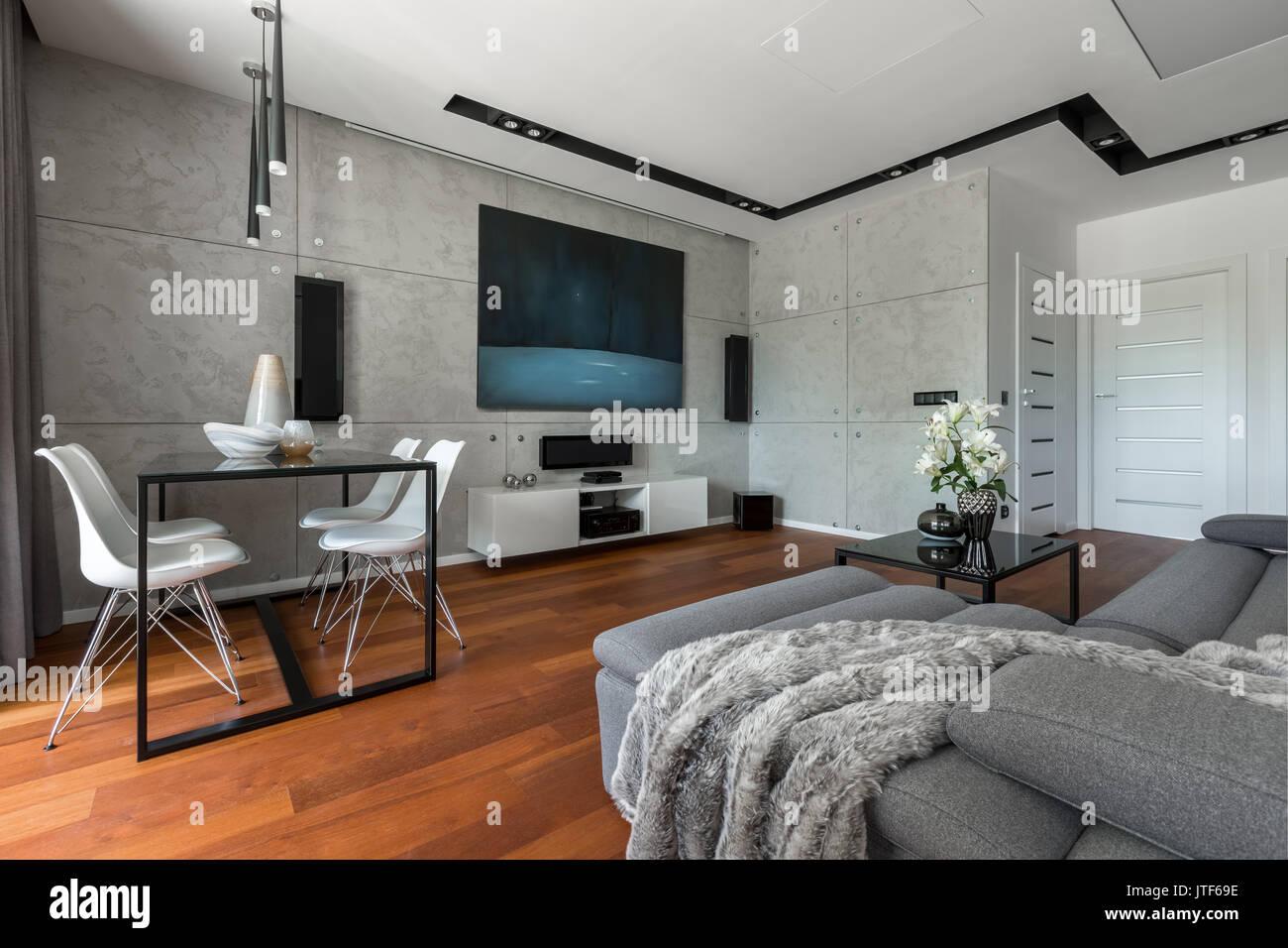 Home Intérieur Avec Table à Manger Canapé Mur De Ciment Et