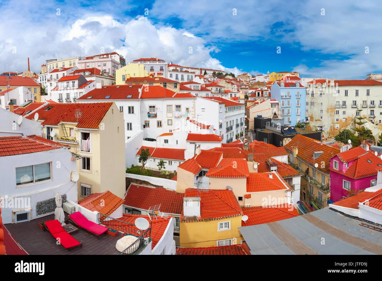 Un après-midi ensoleillé sur Alfama, Lisbonne, Portugal Photo Stock