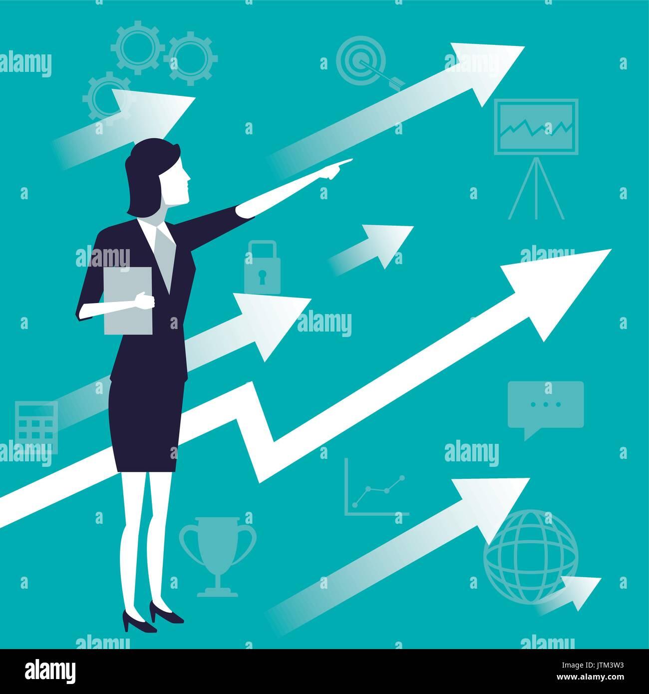 Fond de couleur avec la femme et la croissance de l'entreprise symbole de flèche Illustration de Vecteur