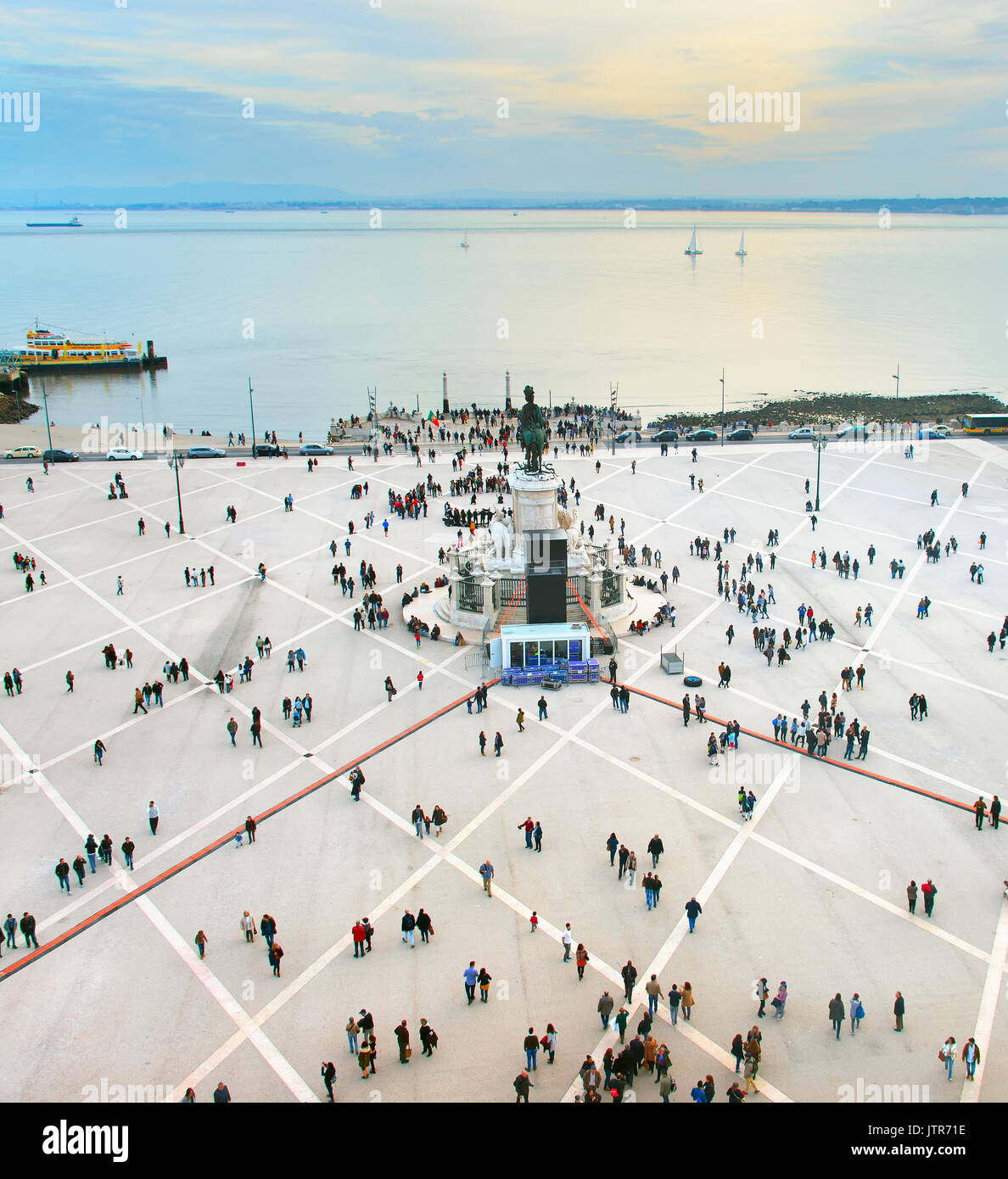 Vue aérienne de la place commerciale. Lisbonne, Portugal Photo Stock