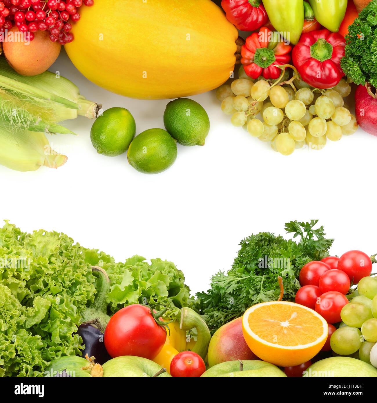 Fruits et légumes frais isolé sur fond blanc Photo Stock
