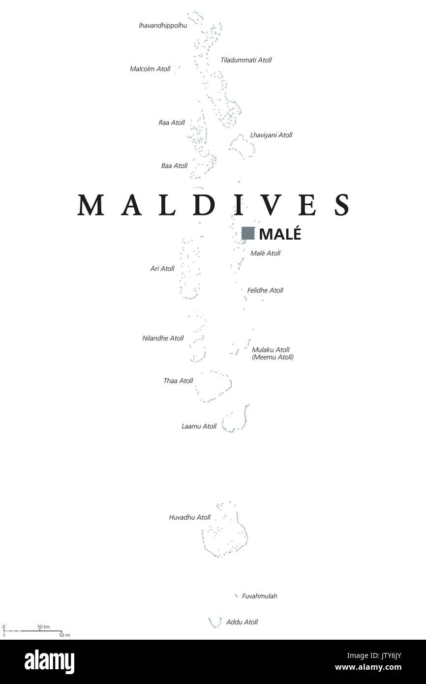Carte Asie Maldives.Carte Politique De La Capitale Des Maldives Avec Hommes L
