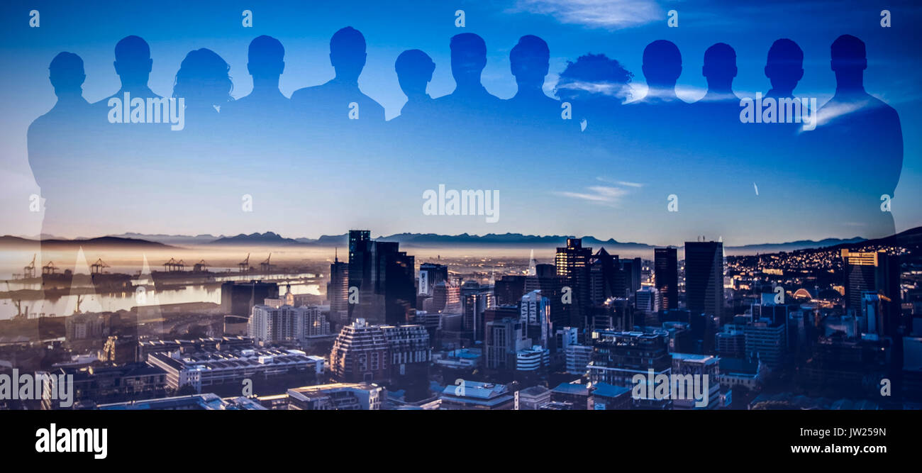 Image d'illustration de collègues contre ville Photo Stock