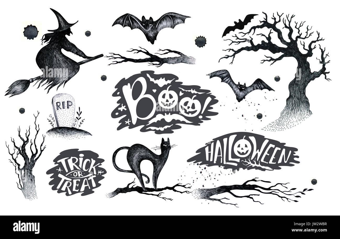 Halloween Dessin Noir Blanc Sur L Icône Graphique Dessiné