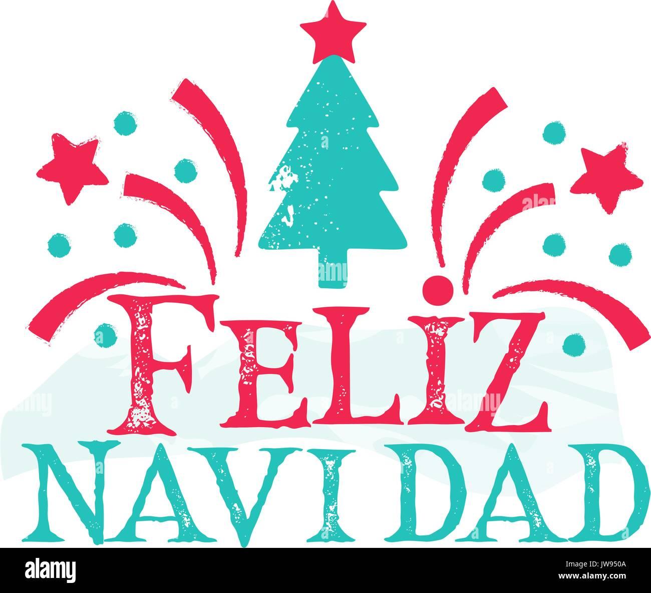 Feliz Navidad Joyeux Noel 2019.Feliz Navidad Joyeux Noel Langue Espagnol Vecteurs Et
