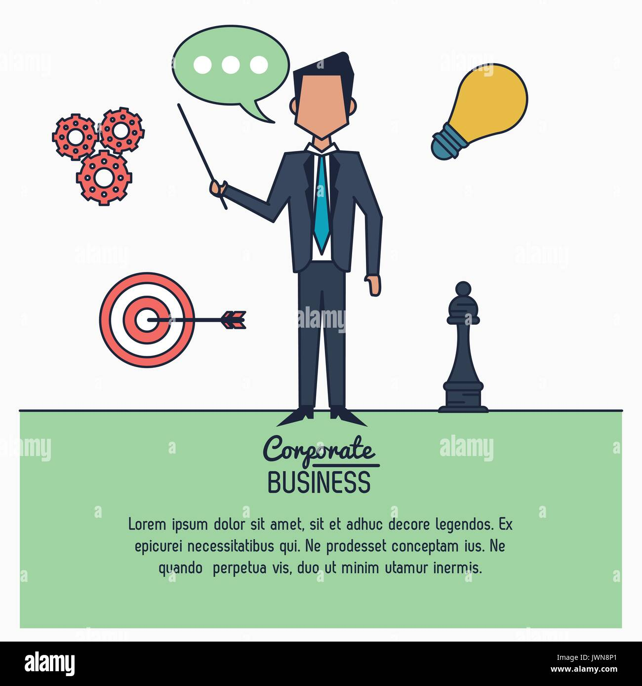 Infographie colorée de corporate business avec exposant businessman standing Photo Stock