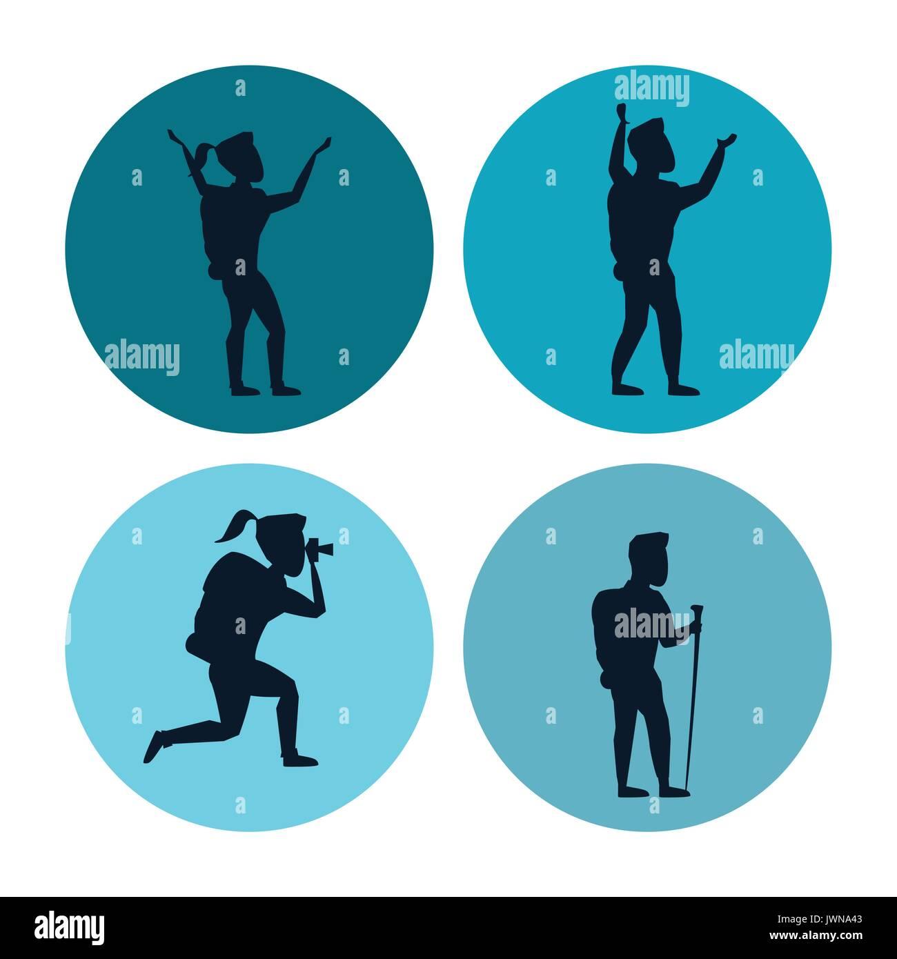 Fond blanc avec jeu de cercles avec des silhouettes d'escalade ou la randonnée les hommes et les femmes Photo Stock