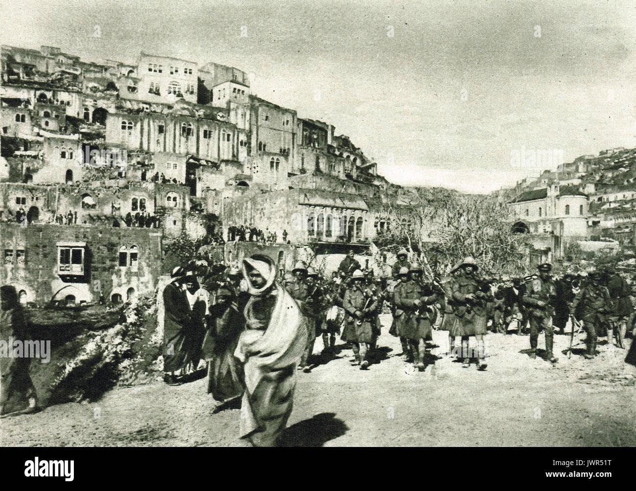 London Scottish Regiment marche dans es sel, Septembre 1918 Photo Stock
