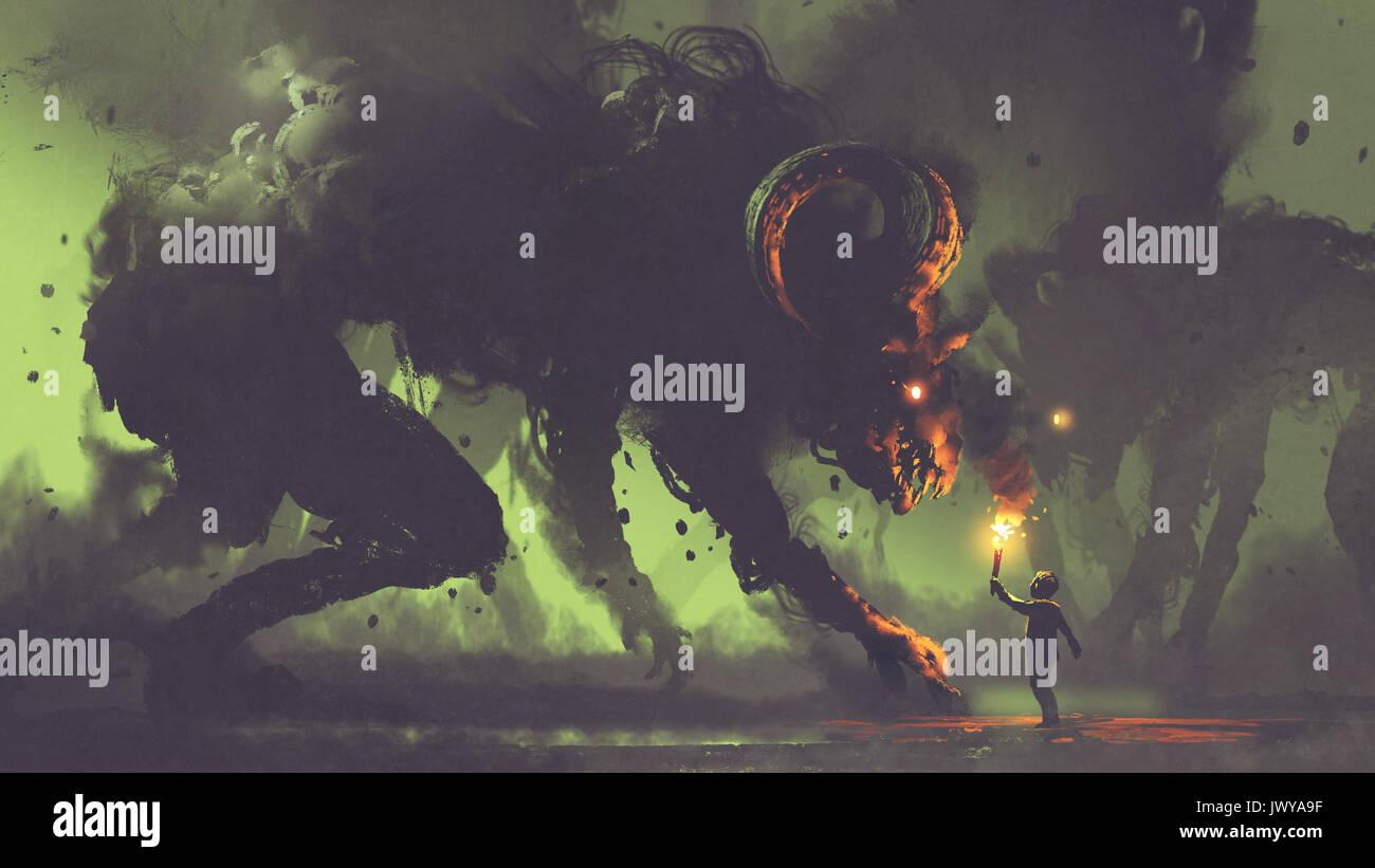 185699c38692 Dark fantasy concept montrant le garçon avec une torche face à des monstres  de fumée avec