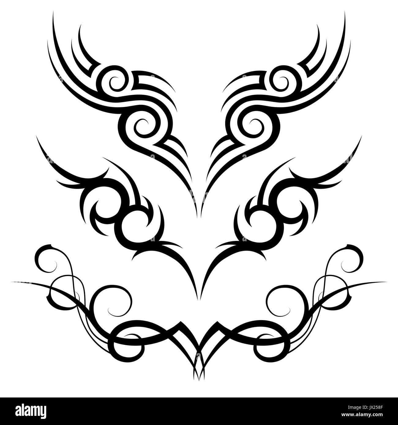 Motif Tatouage Tribal Noir Trois Sur Fond Blanc Vecteurs Et