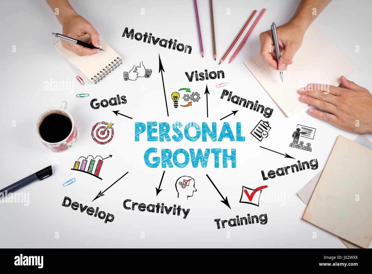 Concept de croissance personnelle. La réunion à la table bureau blanc. Photo Stock