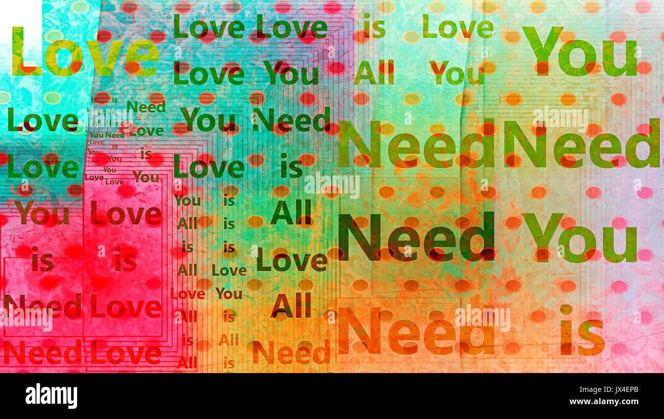 Un 'All You Need Is Love', l'art abstrait arrière-plan. Banque D'Images