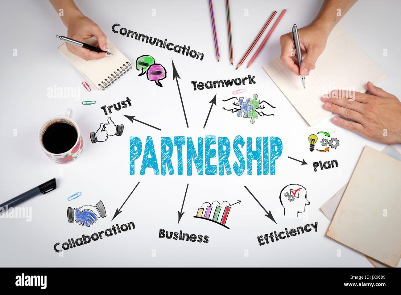 Concept de partenariat. La réunion à la table bureau blanc. Photo Stock