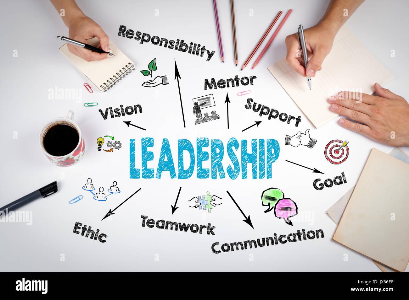 Concept de leadership. La réunion à la table bureau blanc. Photo Stock