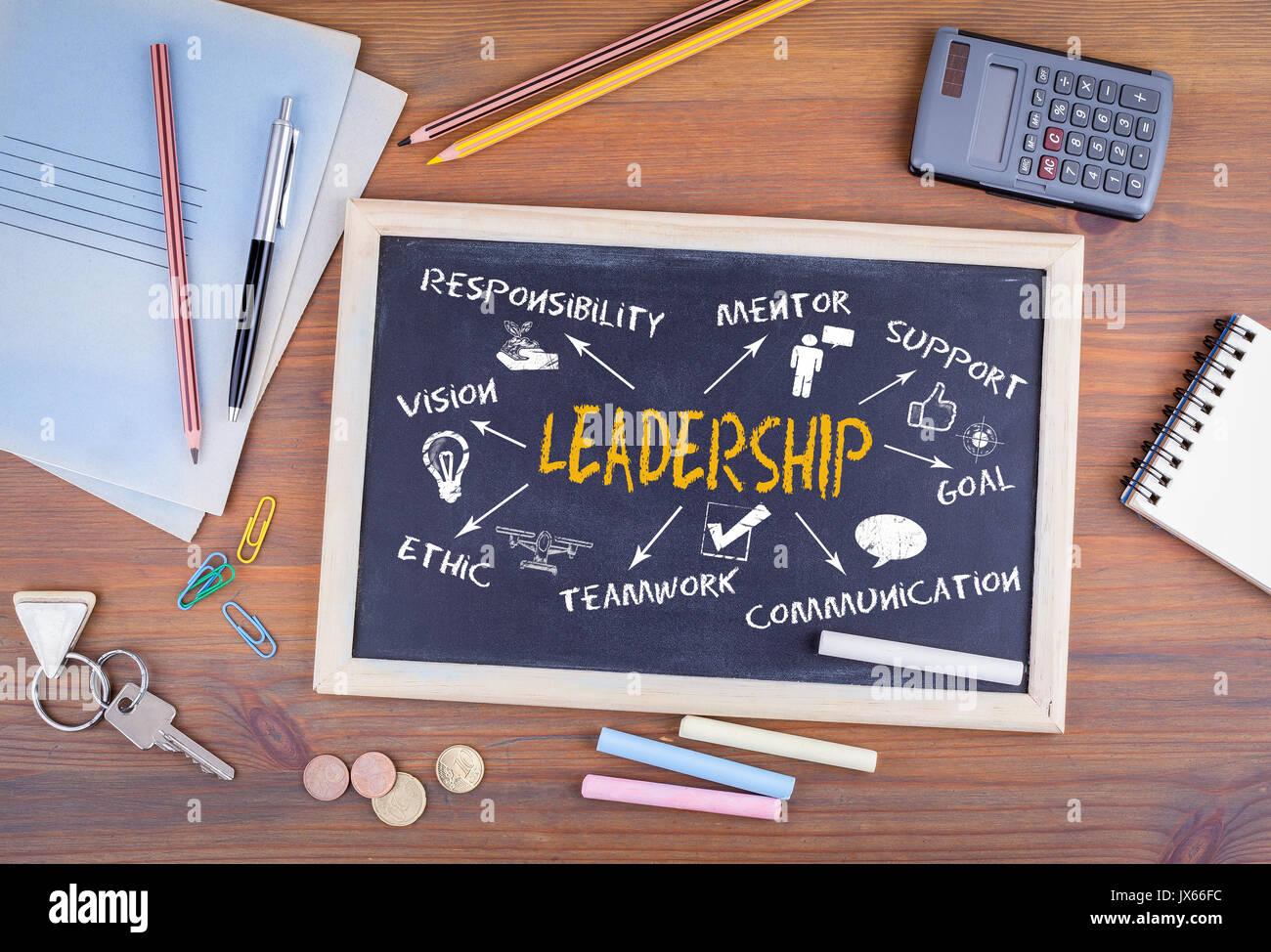 Concept de leadership. Tableau sur meubles de bureau en bureau. Photo Stock