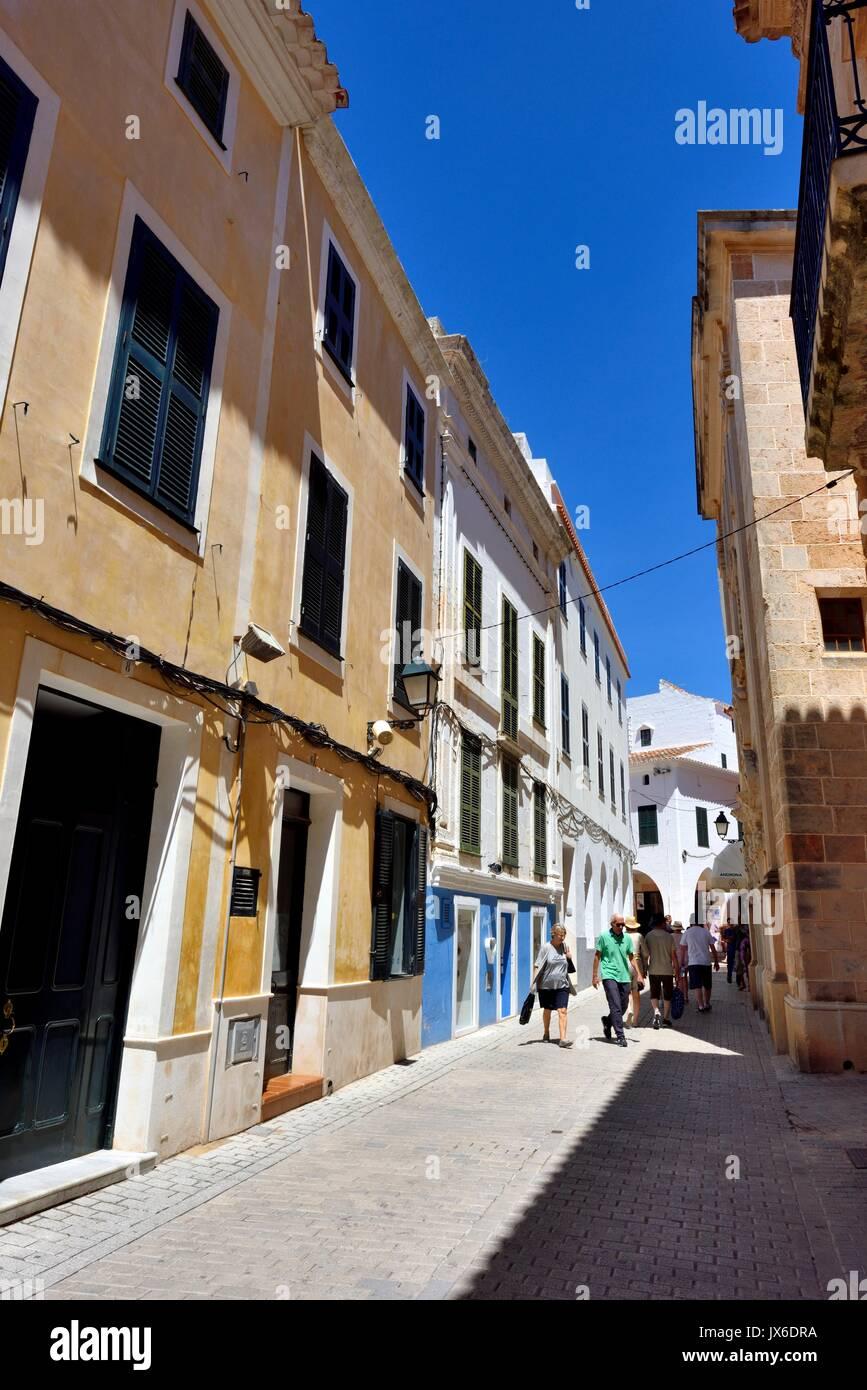 Scène de rue Ciutadella menorca Minorque Photo Stock