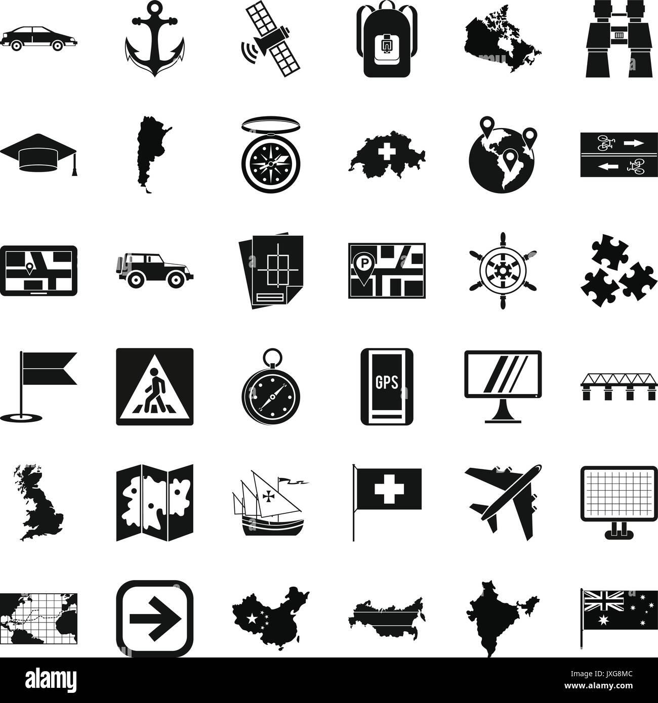 La cartographie, le style simple icons set Photo Stock