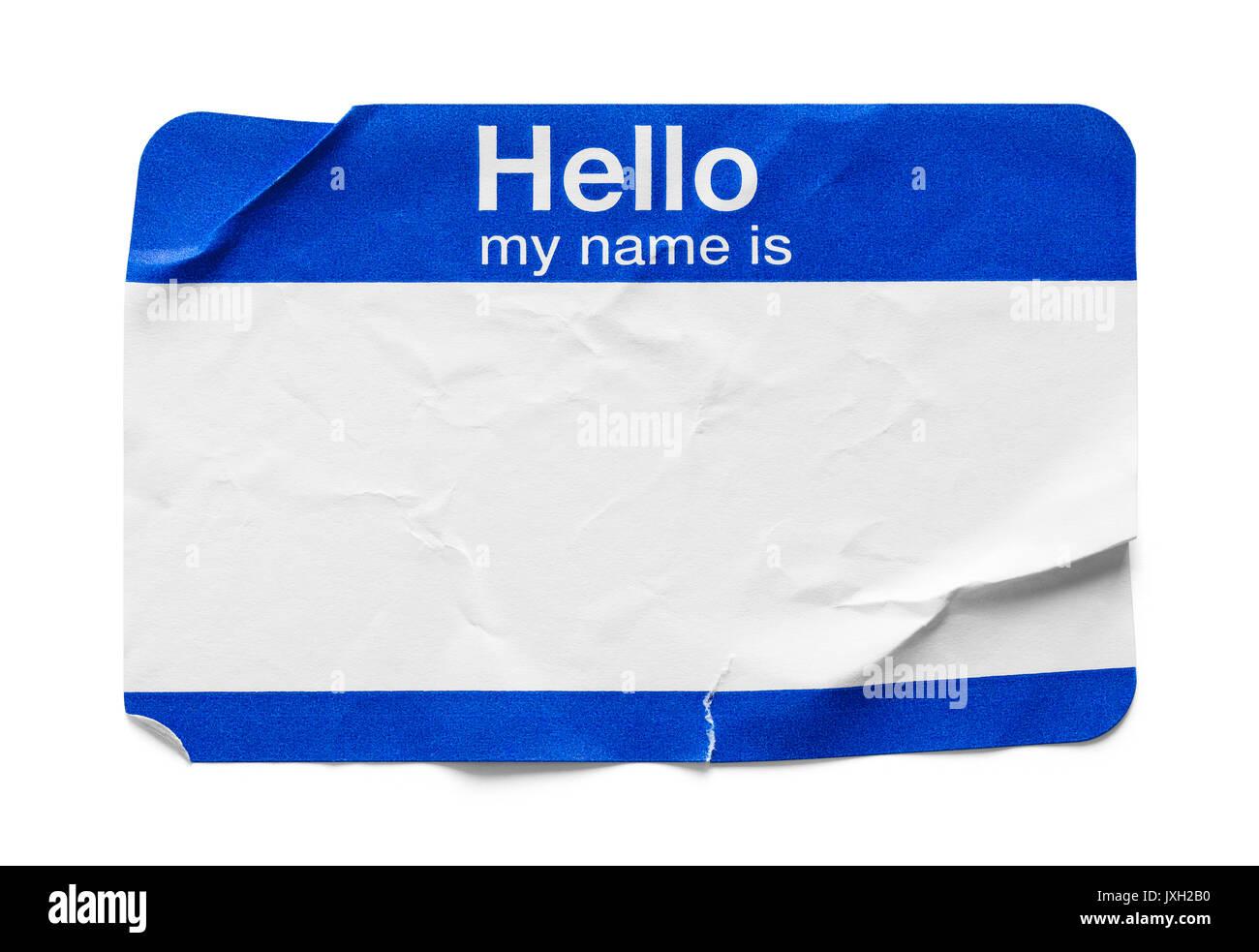 Bent et utilisé l'étiquette-nom isolé sur fond blanc. Photo Stock