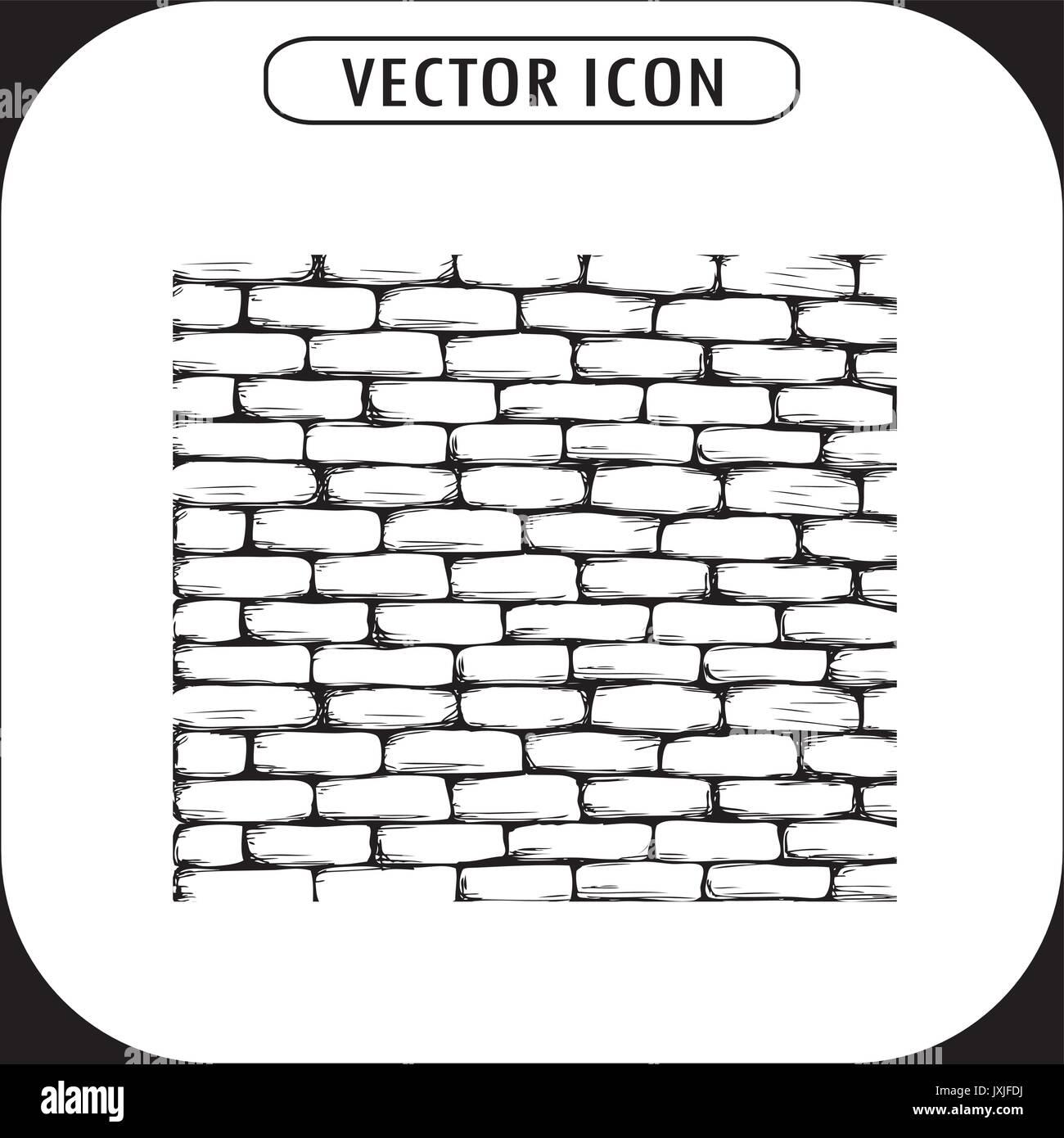Mur De Brique L Icone Dessin A La Main Vector Image Vectorielle Stock Alamy