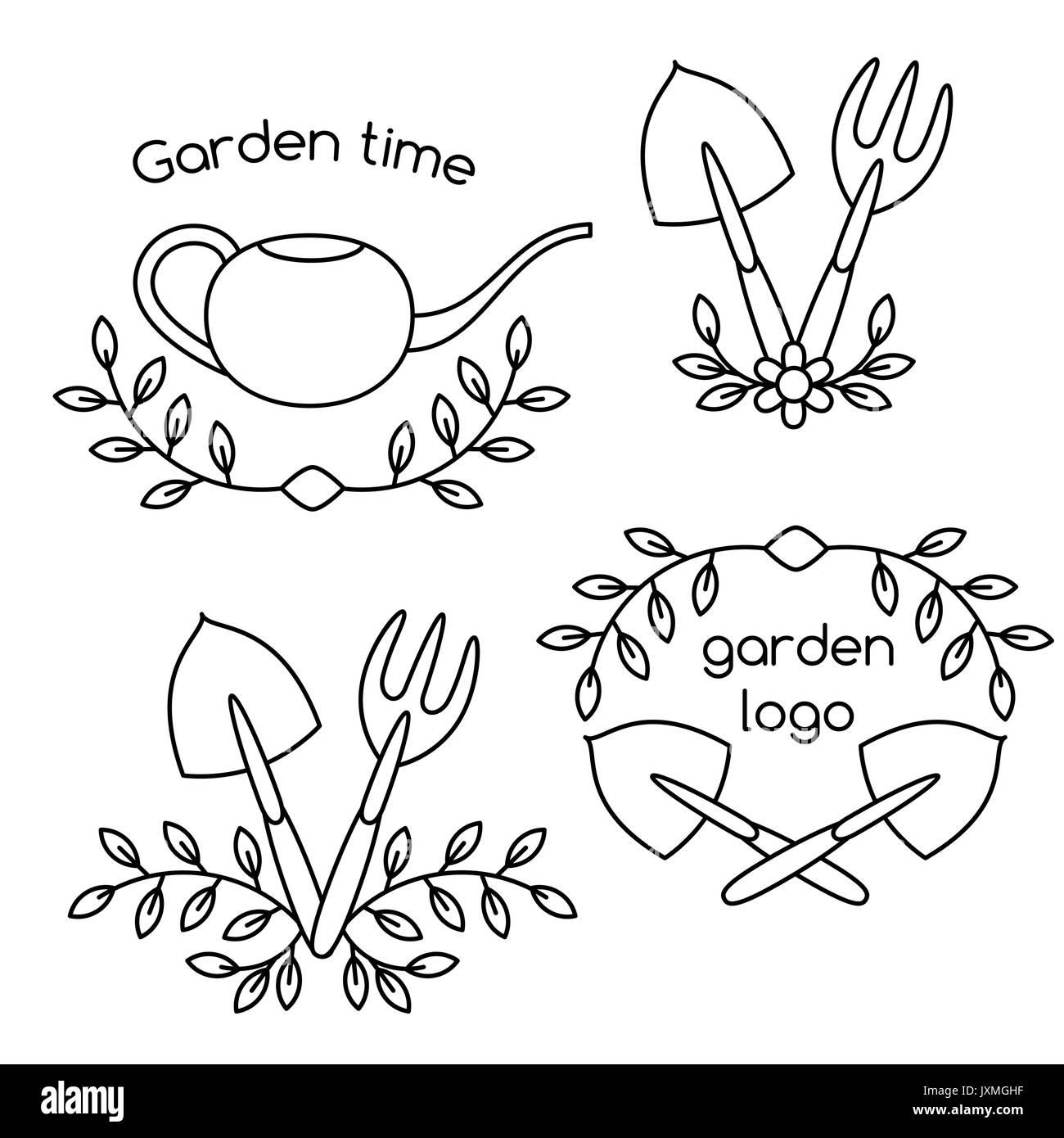 Jeu de cute vintage logo outils de jardinage Vecteurs Et ...
