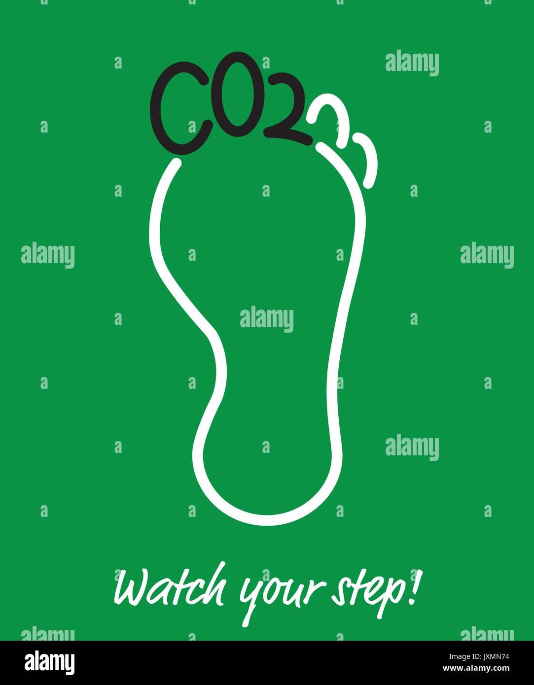 L'affiche de l'empreinte carbone, les doigts de pied en forme de lettres, CO2 Dioxyde de carbone à court terme pour Photo Stock