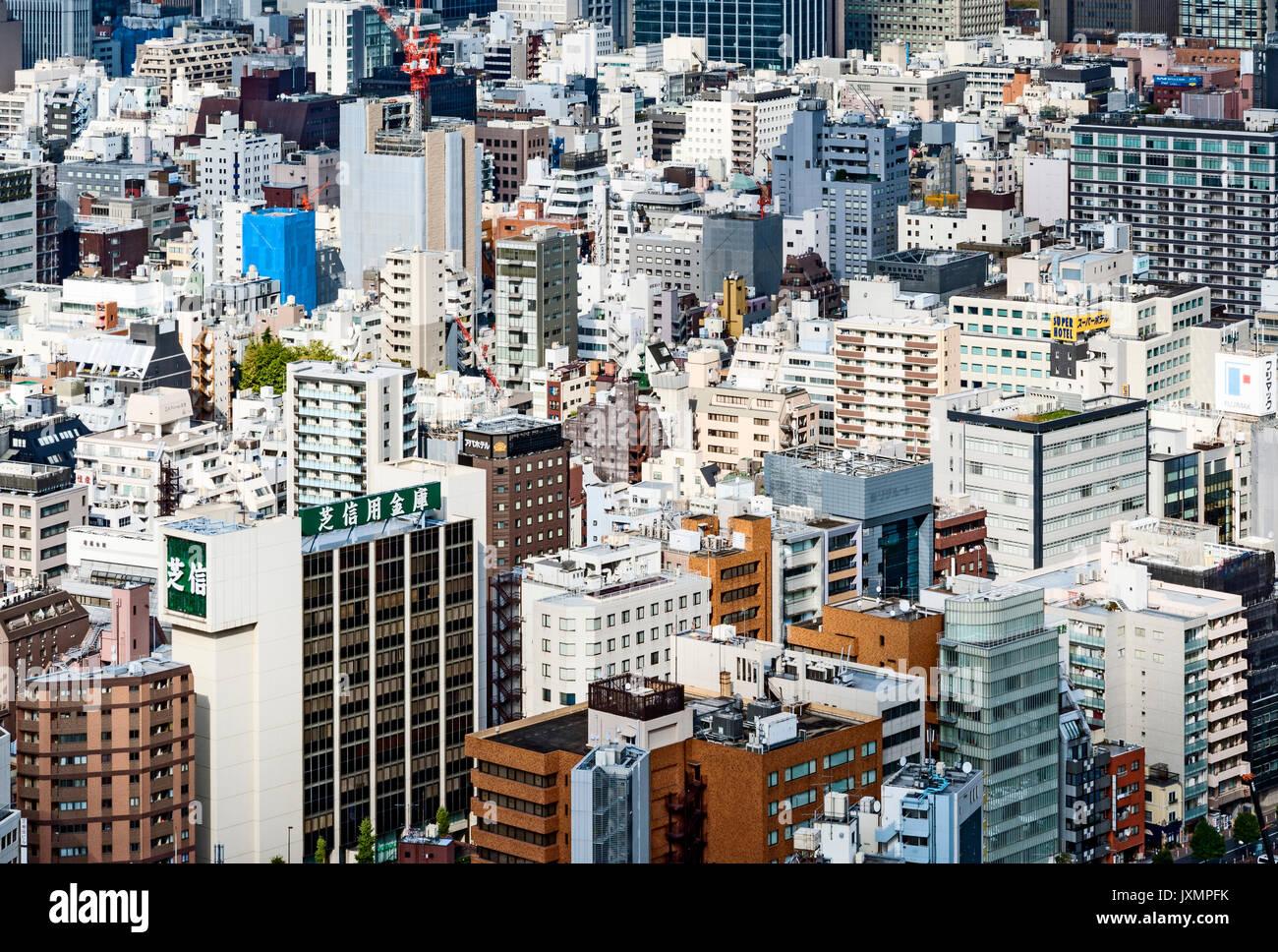 Vue aérienne des bâtiments de Tokyo Japon Photo Stock