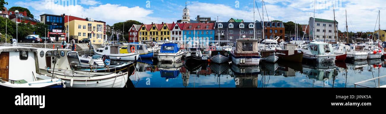 Le Danemark, îles Féroé, de l'INIS, le port Photo Stock