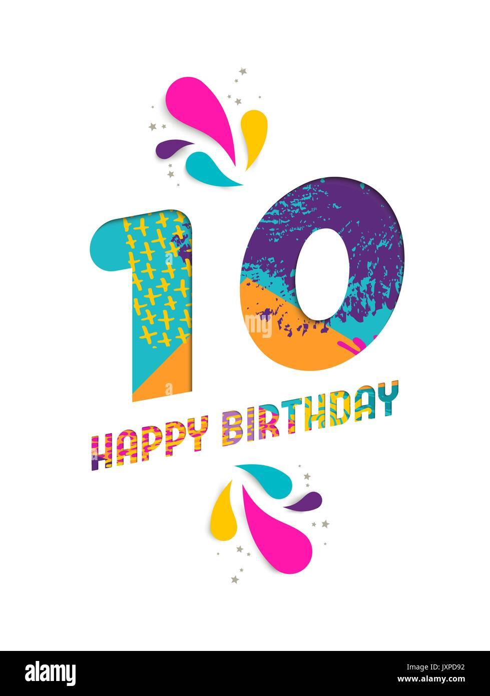 Joyeux Anniversaire Dix 10 Ans Coupe Papier Amusant Numero Et Le