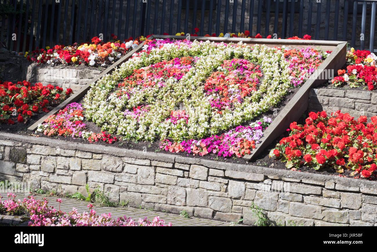 Literie florale sous la forme de la CND, symbole de Prudhoe, Northumberland, England Photo Stock