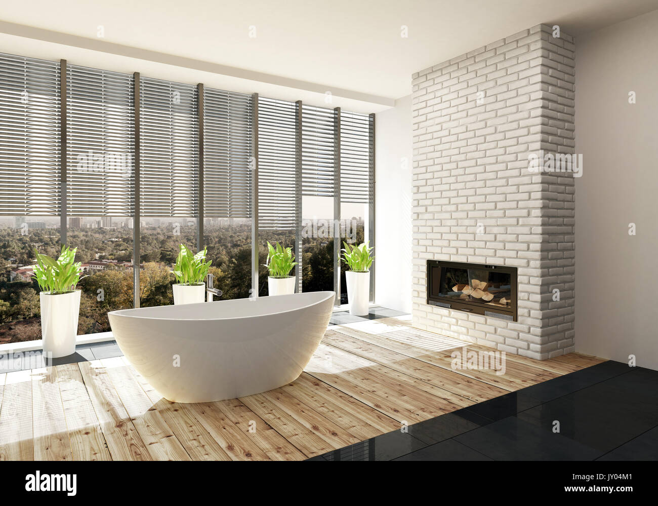 salle de bains de luxe avec cheminée insert dans un mur de briques