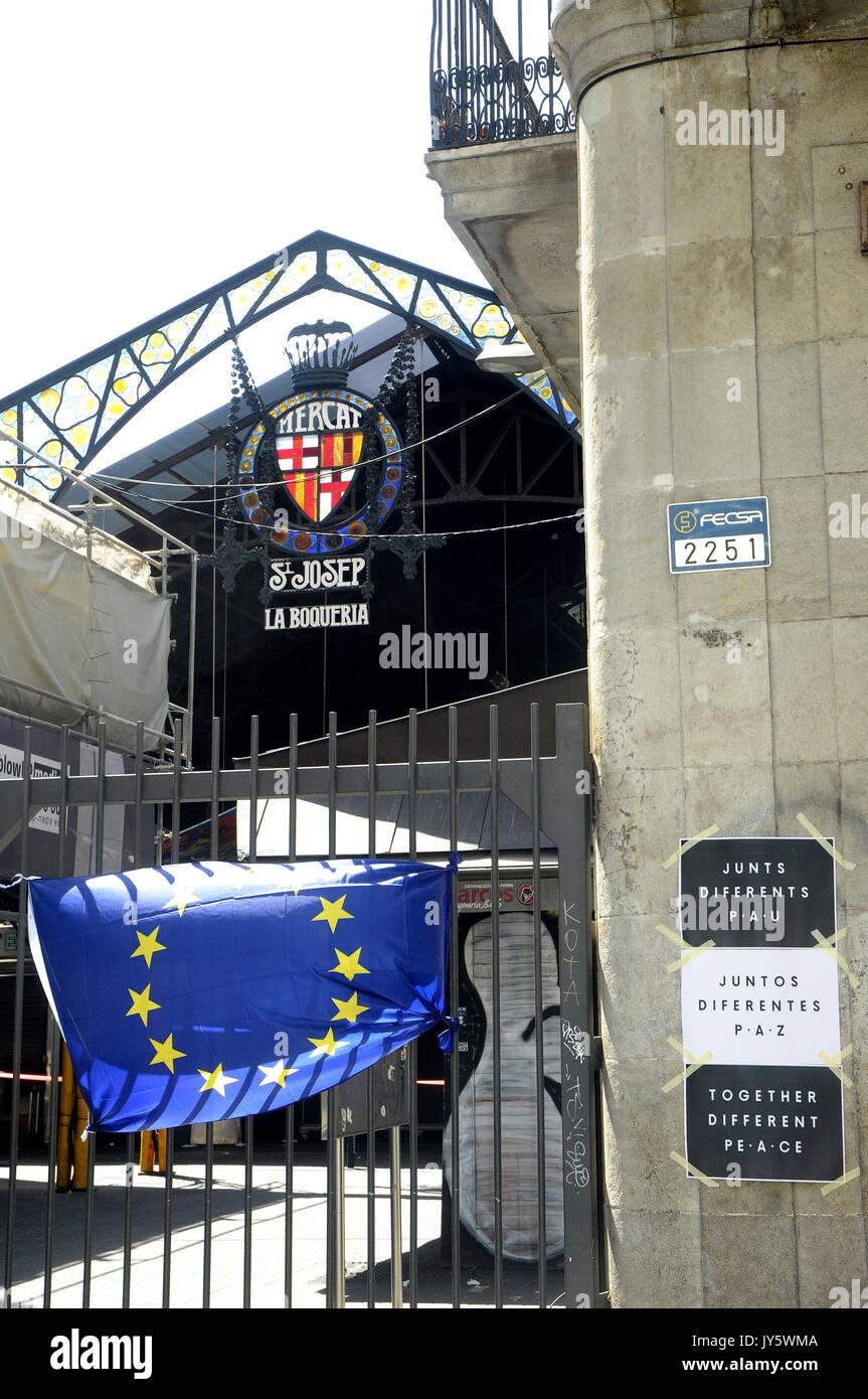 Las Ramblas, Barcelone, Espagne. 18 août 2017. Conséquences sur la Ramblas le jour après l'attaque terroriste à Barcelone. Credit: Rosmi Duaso/Alamy Life News Banque D'Images