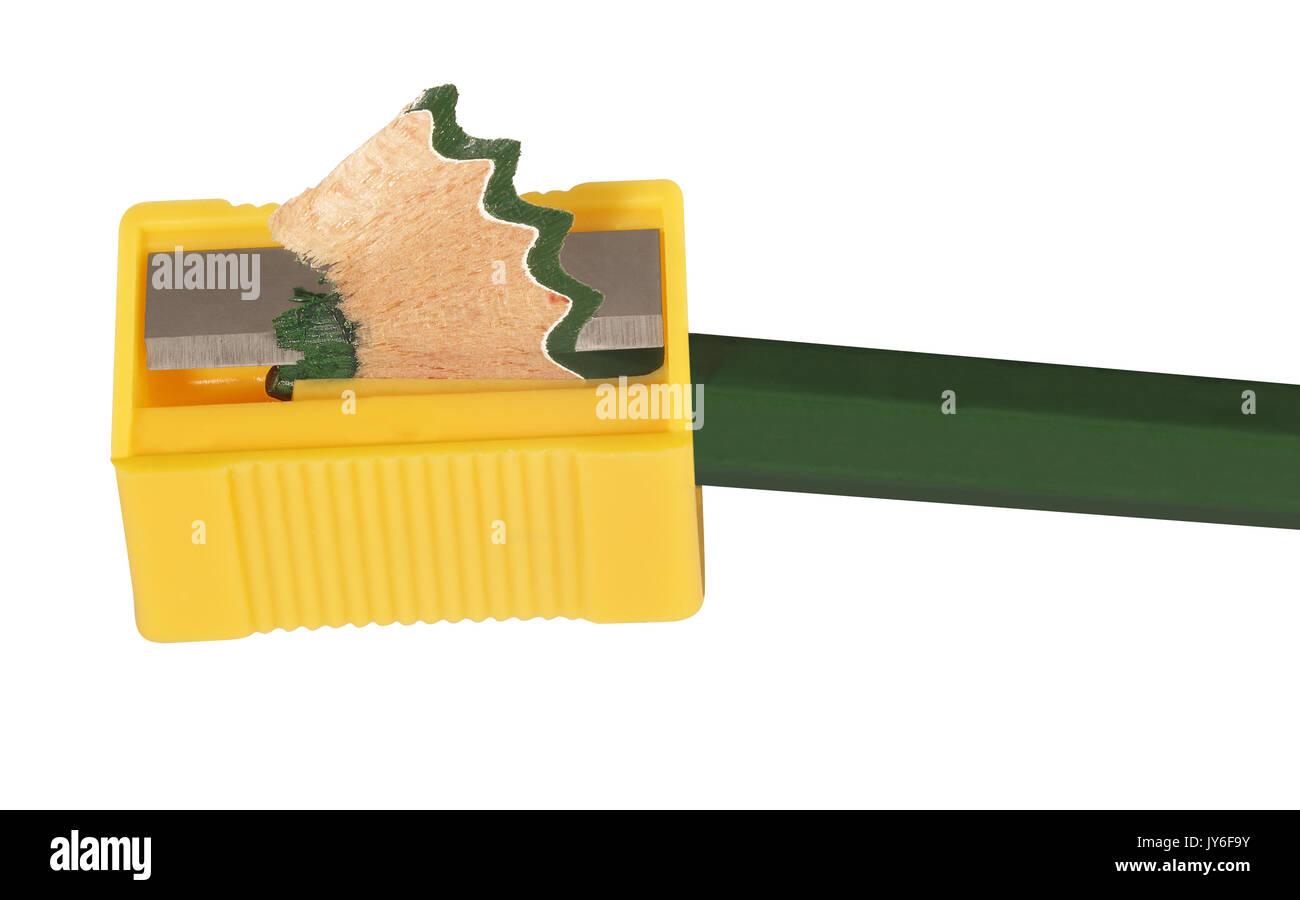 Close up of green crayon de couleur et taille-crayon Photo Stock