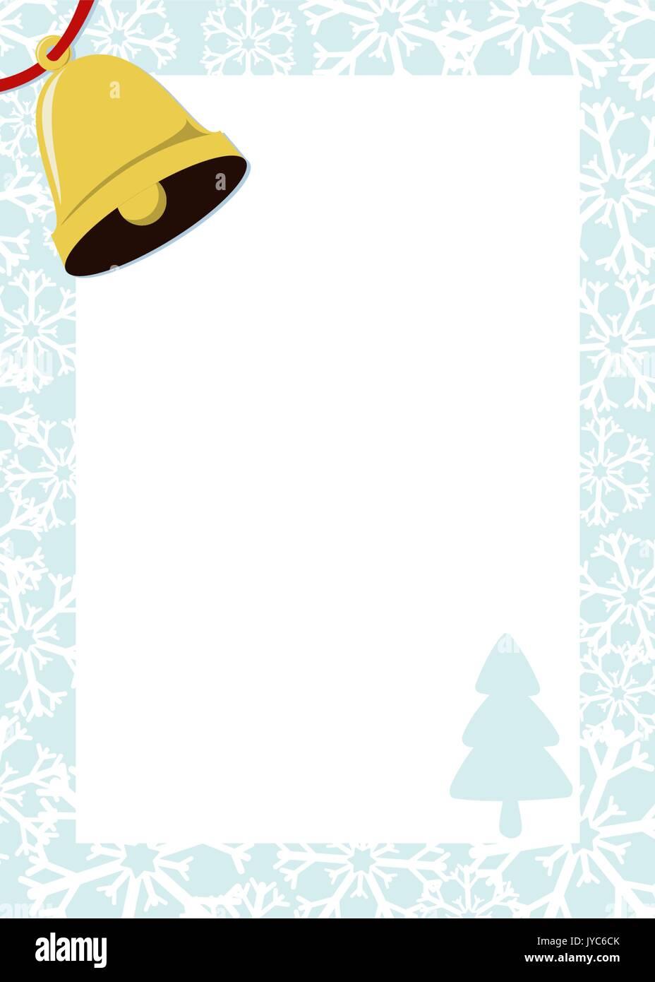Modele De Lettre Pour Pere Noel.Cadre De Noel Avec Golden Bell Et Fond Blanc Pour Votre