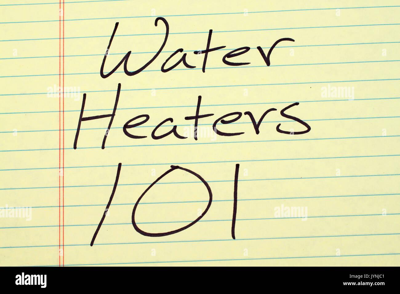 Les mots '101' chauffe-eau sur un tampon juridique jaune Photo Stock