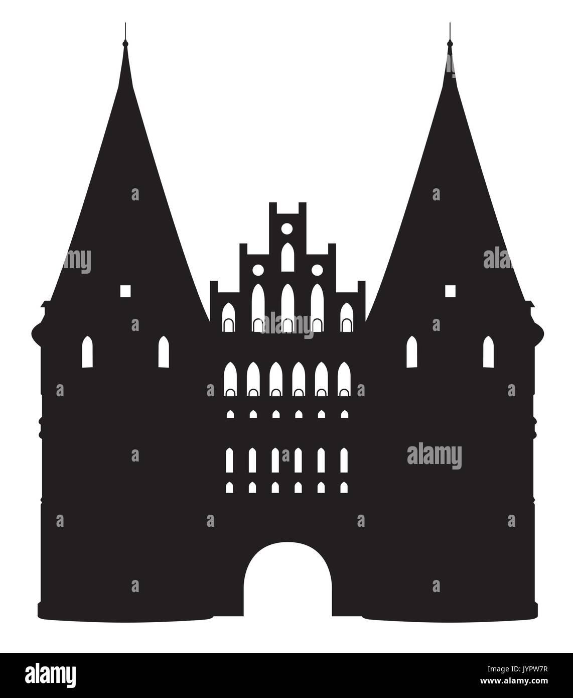 Noir blanc silhouette de l'Holstentor à Luebeck, Allemagne Photo Stock