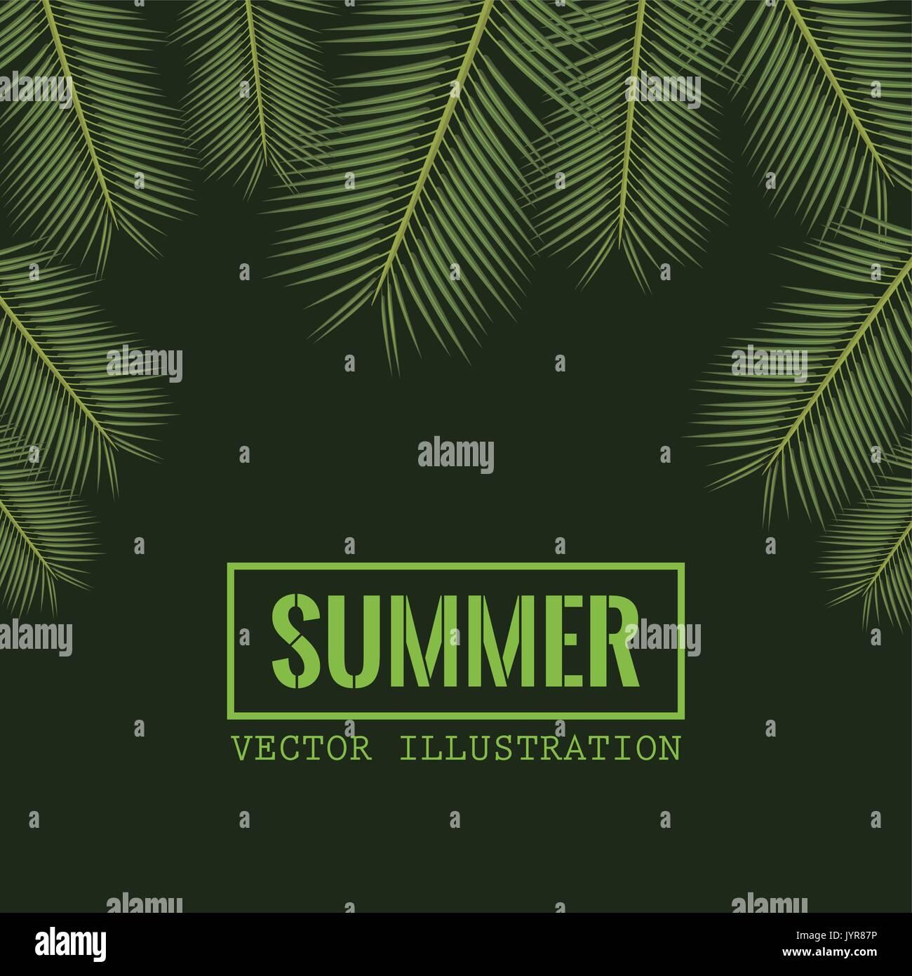 Fond de couleur verte avec des feuilles de palmier et de décoration frontière cadre rectangulaire avec texte d'été Illustration de Vecteur