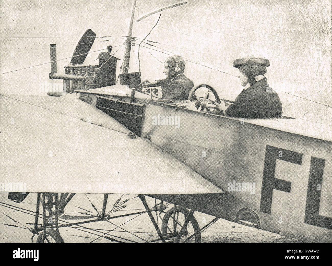 Appareils sans fil dans un avion, WW1 Banque D'Images