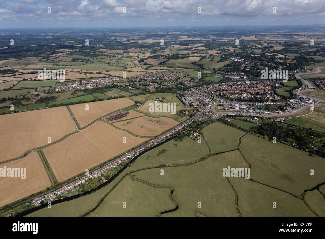 Une vue aérienne de la ville de Rye et entourant la campagne du Sussex de l'Est Photo Stock