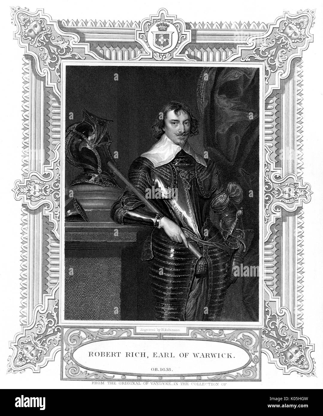 Sir Robert Rich (1587-1658), second comte de Warwick commandant naval, en particulier dans les Amériques Date: Banque D'Images