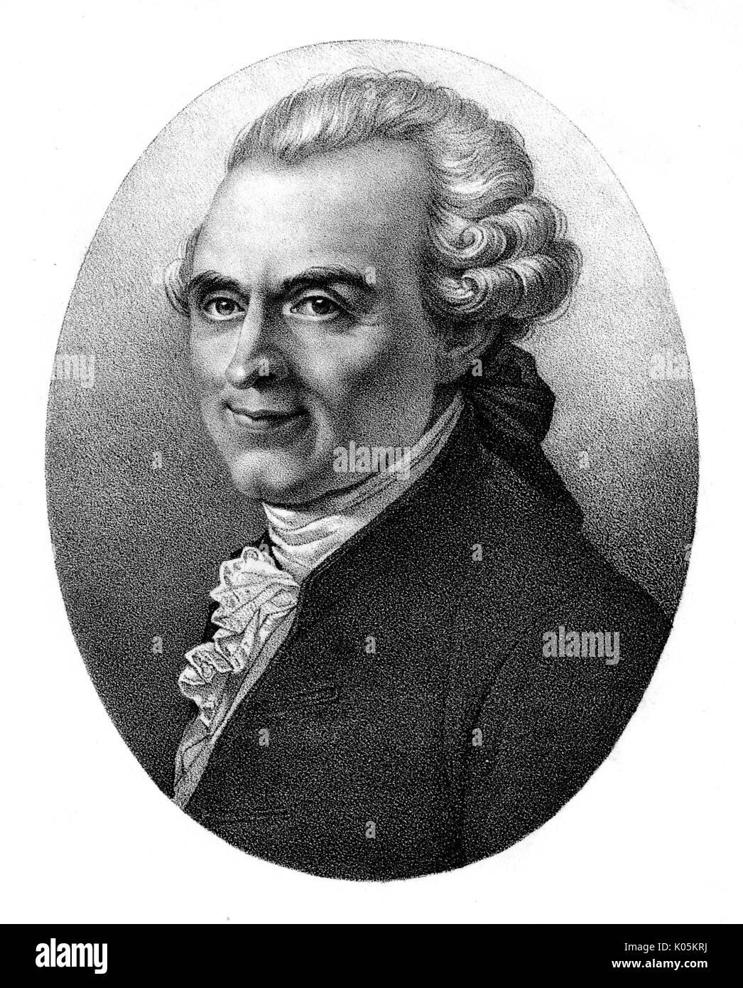 Michel Jean Sedaine (1719 - 1797) - Pierre Français-Mason qui est devenu un dramaturge Date: Banque D'Images