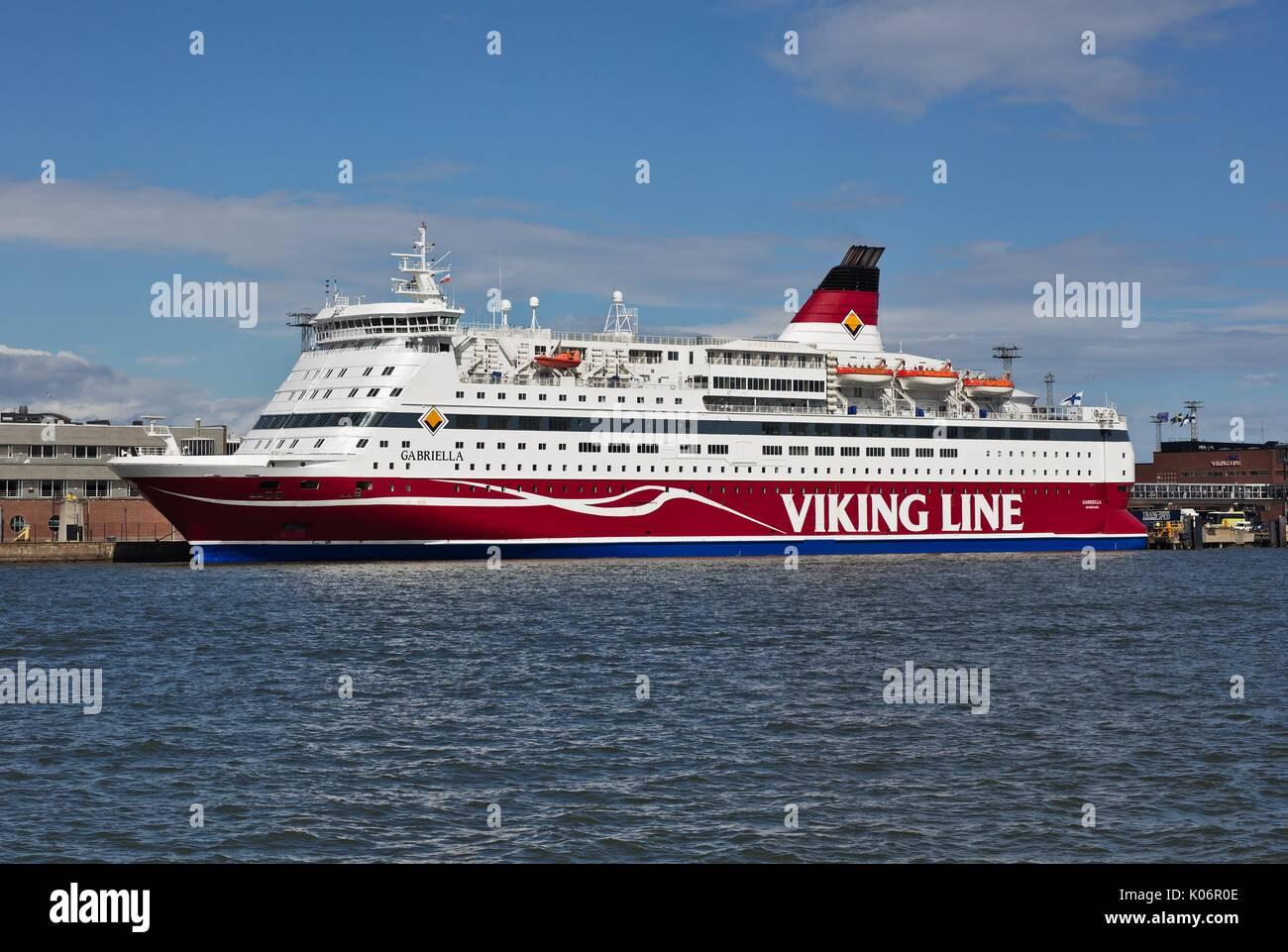 Mme Gabriella cruiseferry, amarré à Helsinki Photo Stock