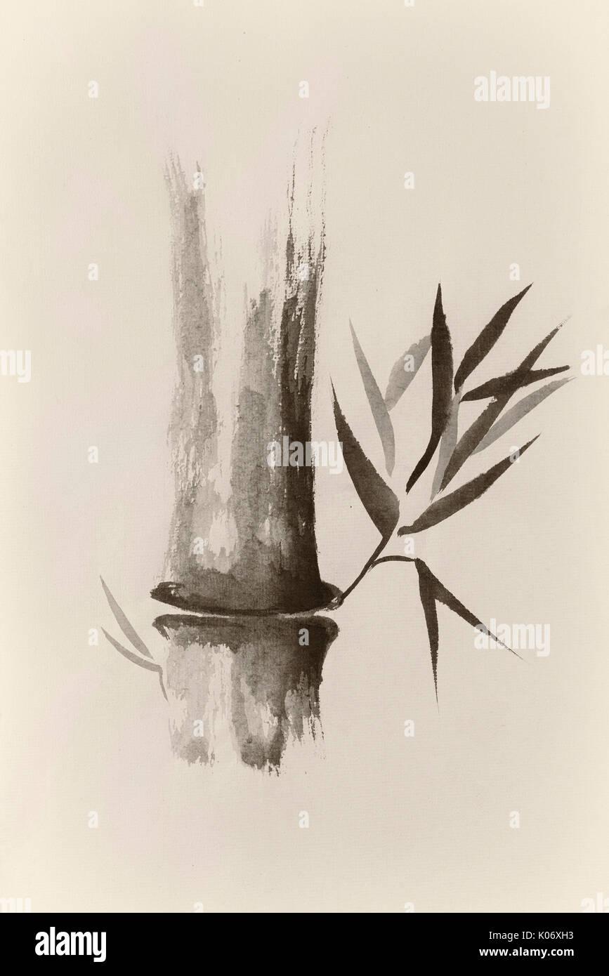 Belle Peinture Zen Bambou De Tige Et Feuilles En Sépia Sumi E