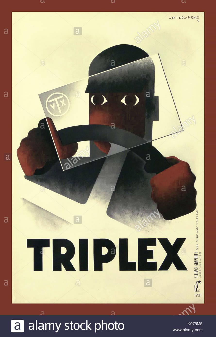 Retro Vintage Années 1930 design graphique poster par Cassandre affiche publicitaire français pare-brise en verre triplex. Photo Stock