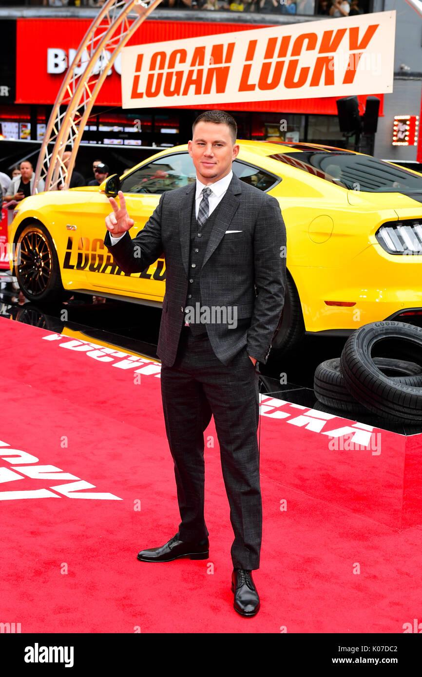 Channing Tatum participant à la Logan Lucky UK Premiere tenue à vue West End à Leicester Square, Londres. Banque D'Images
