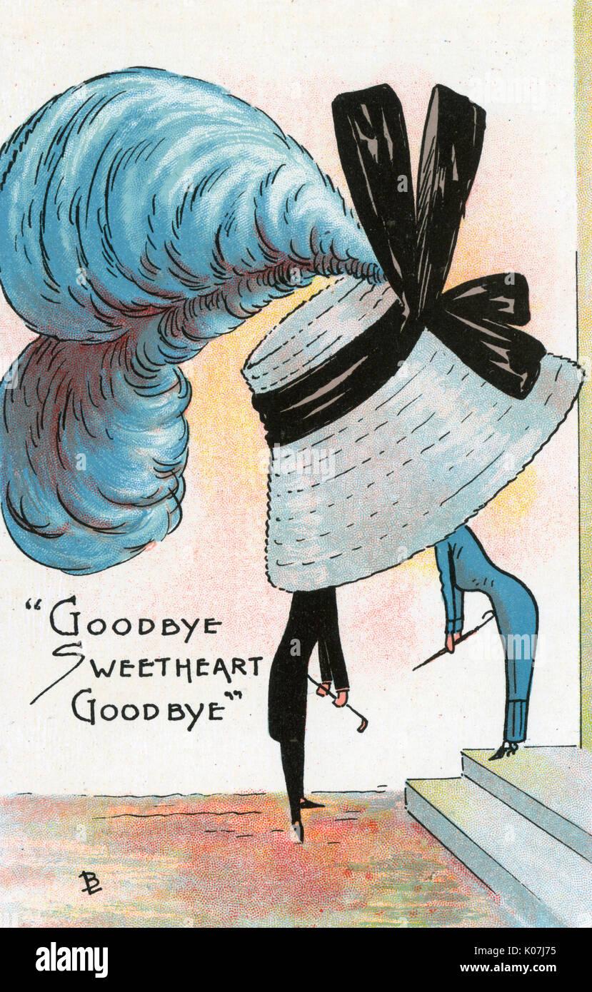Carte postale bd - satire sur le penchant pour les femmes de porter des chapeaux de grandes et enveloppant durng de cette période. Au revoir Au Revoir Sweetheart (4/6). Date: vers 1900 Photo Stock