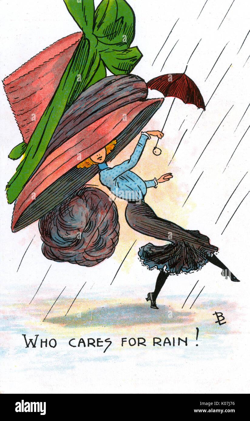 Carte postale bd - satire sur le penchant pour les femmes de porter des chapeaux de grandes et enveloppant durng de cette période. Qui se soucie de la pluie! (5/6). Date: vers 1900 Photo Stock