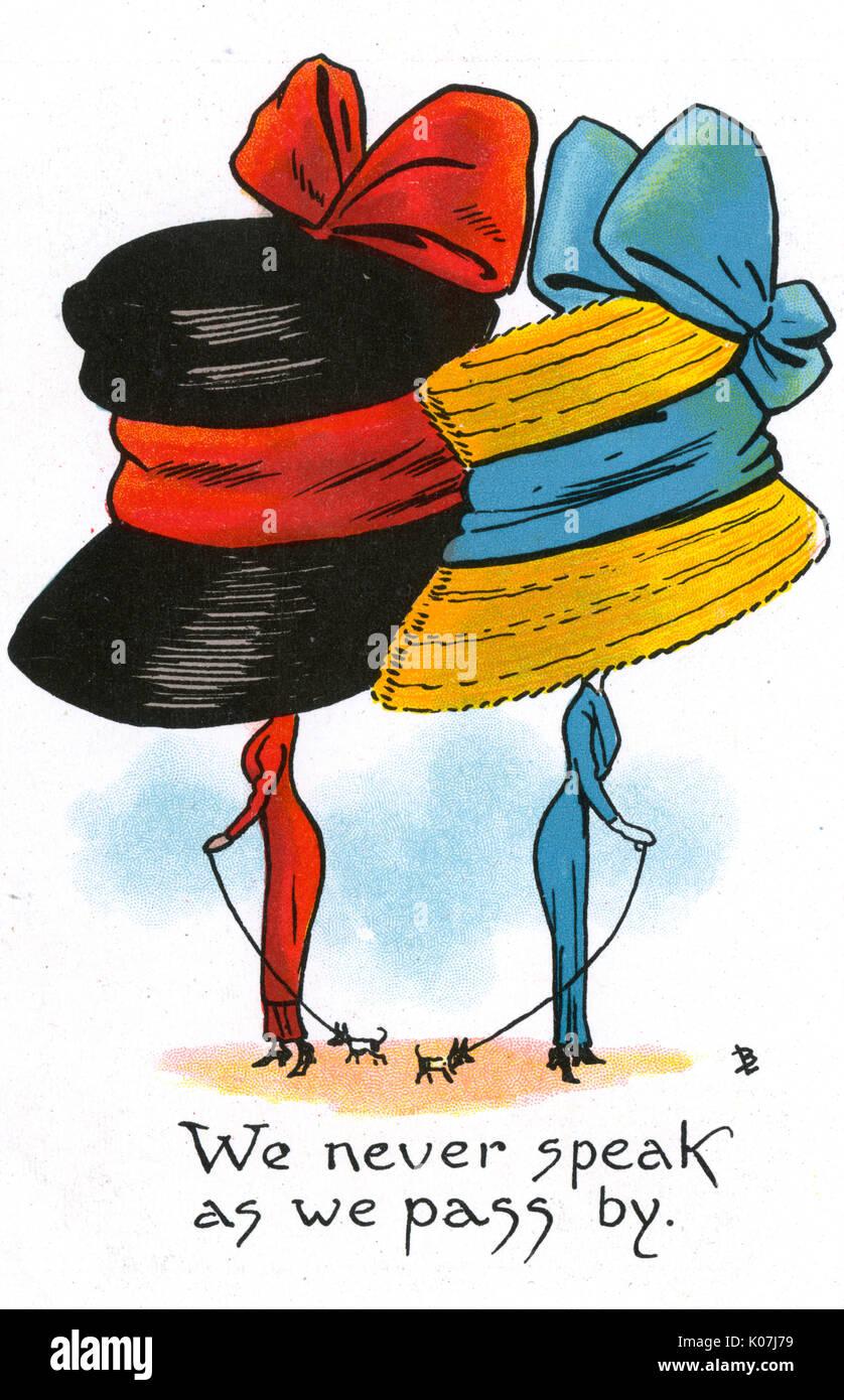 Carte postale bd - satire sur le penchant pour les femmes de porter des chapeaux de grandes et enveloppant durng de cette période. Nous n'avons jamais parler comme nous passons par (6/6). Date: vers 1900 Photo Stock