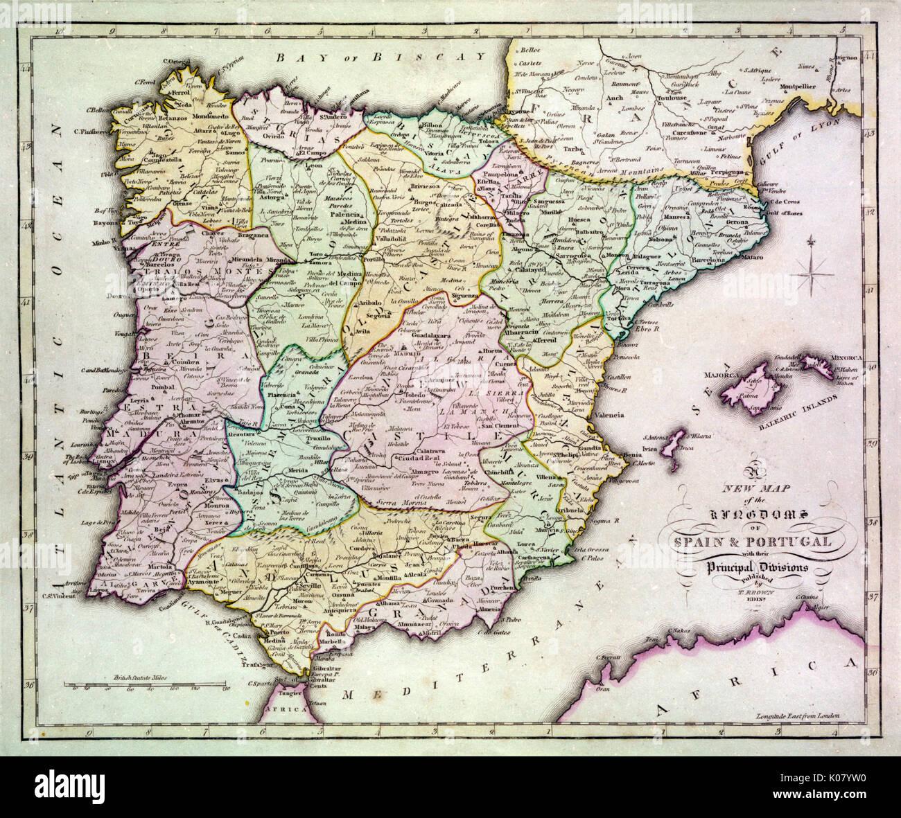Carte Espagne Afrique Du Nord.Carte De L Espagne Et Le Portugal Avec La Partie Du Sud De