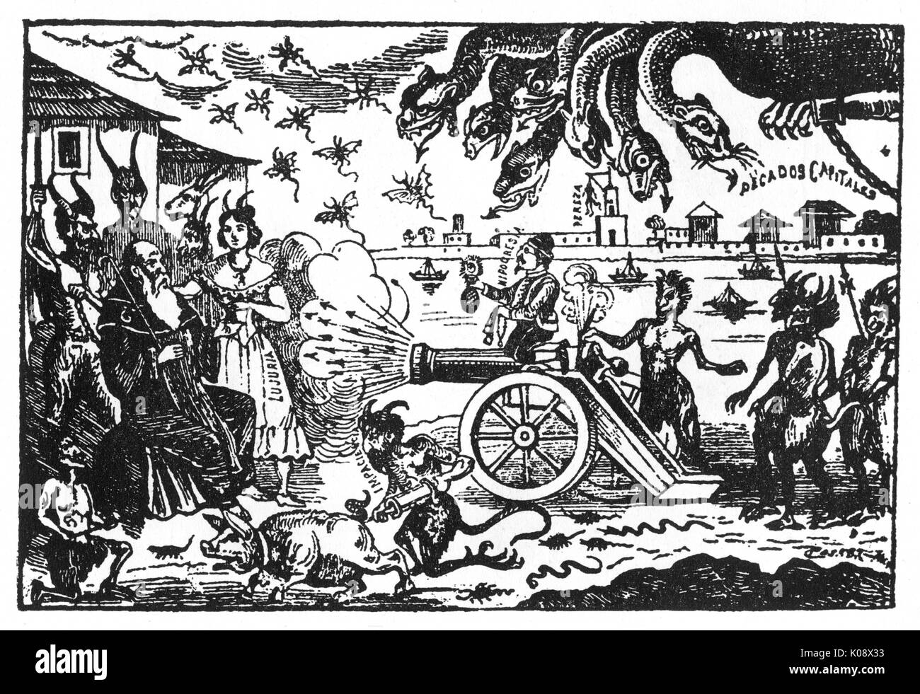 Posada, La Tentation de Saint Antoine -- une bande dessinée satirique. Date: vers 1900 Photo Stock