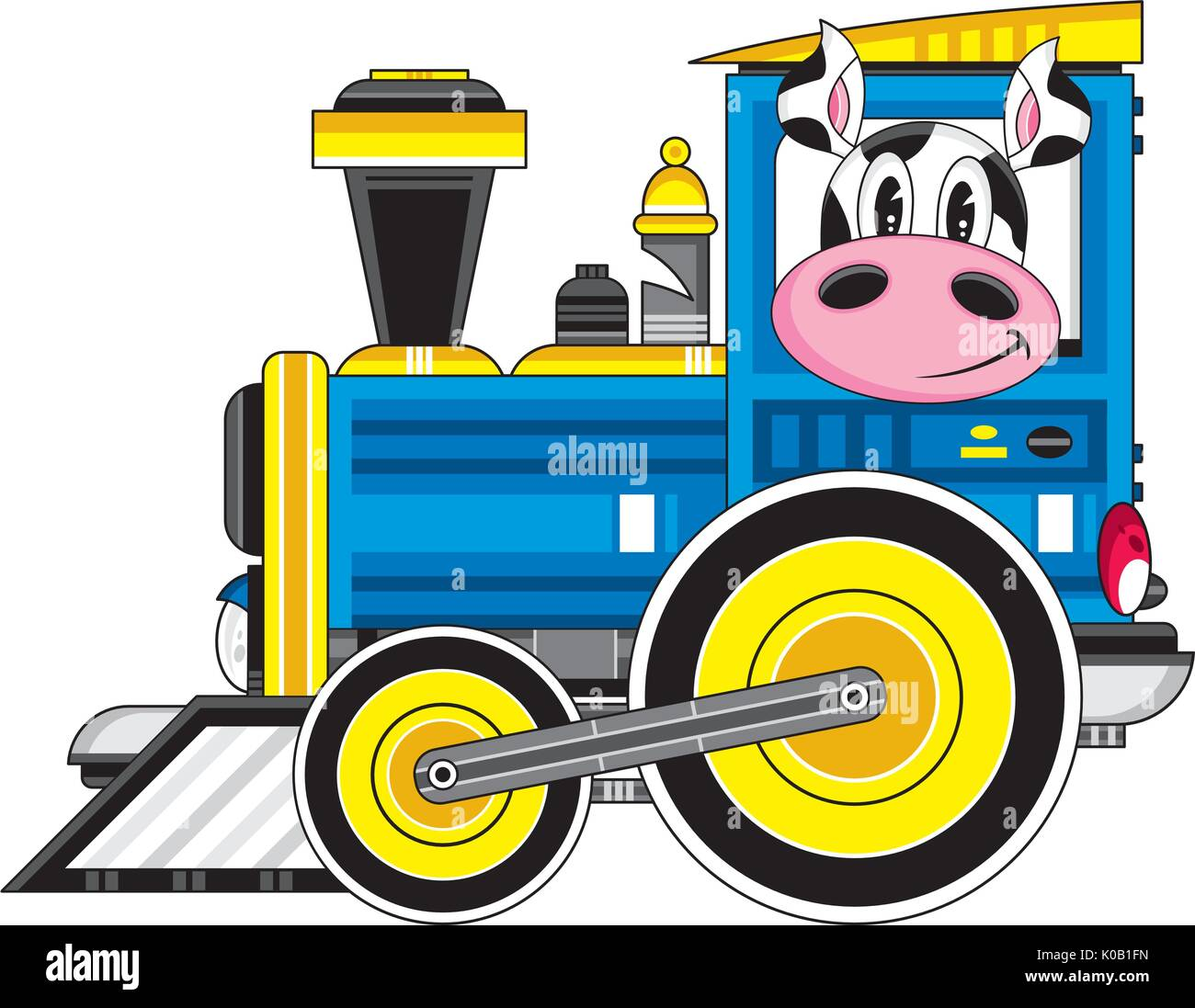 Train vapeur dessin anim avec conducteur vache vector illustration vecteurs et illustration - Train dessin anime chuggington ...